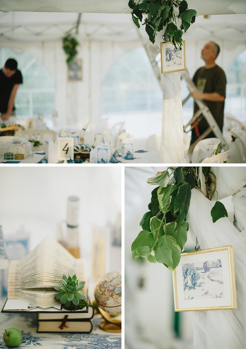 Décoration table mariage toile de jouy bleue